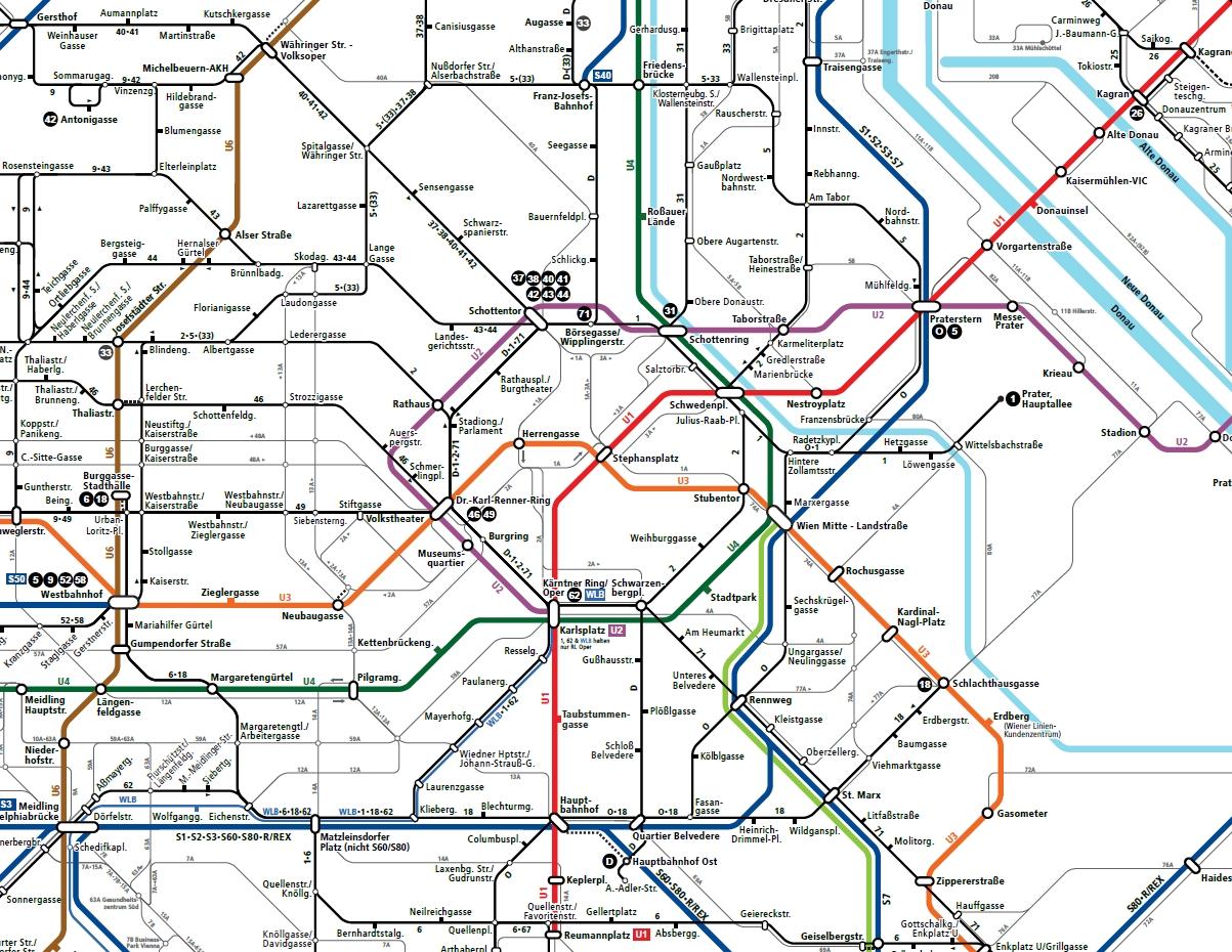 Вена схема трамвайных маршрутов центра