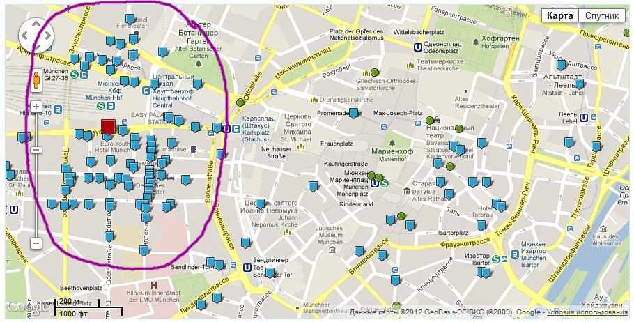 Карта Мюнхeна с отелями