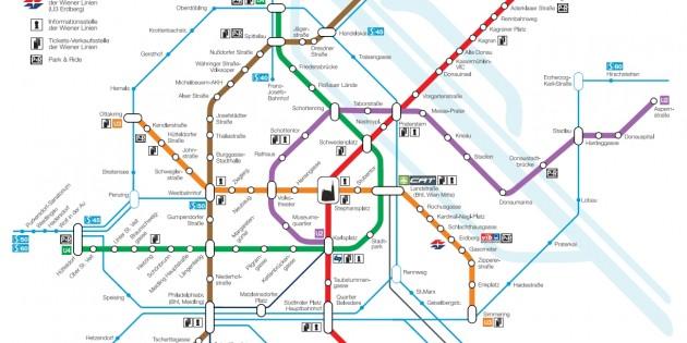 Схема маршрутов метро в Вене