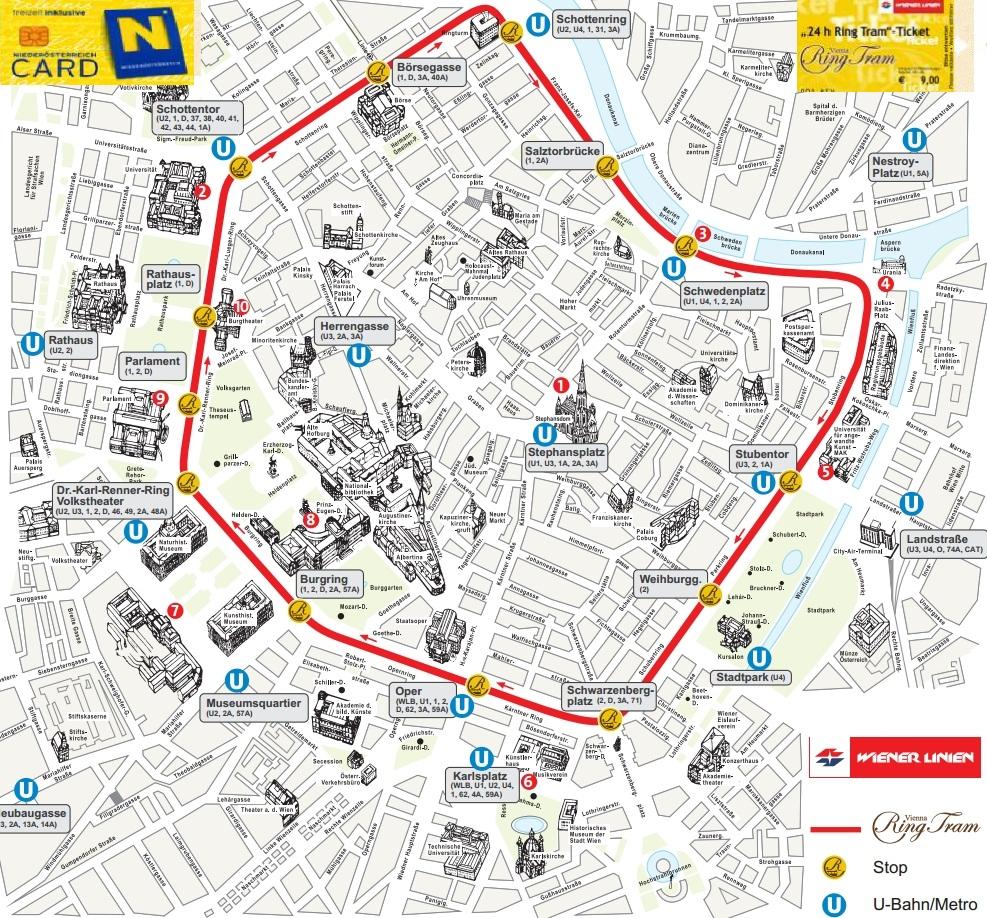 Маршрут экскурсионного трамвая в Вене схема