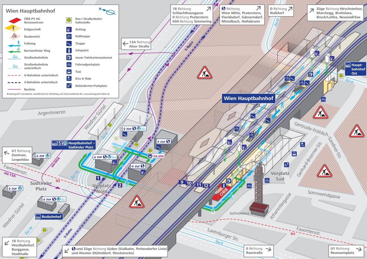 Вена Главный железнодорожный вокзал схема