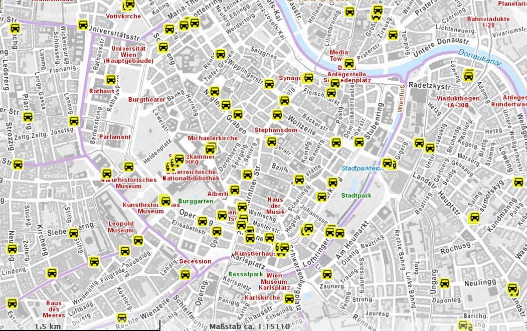 Стоянки такси в Вене карта
