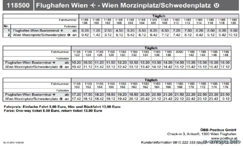 расписание автобуса Аэропорт Вена - Моринцплатц фото