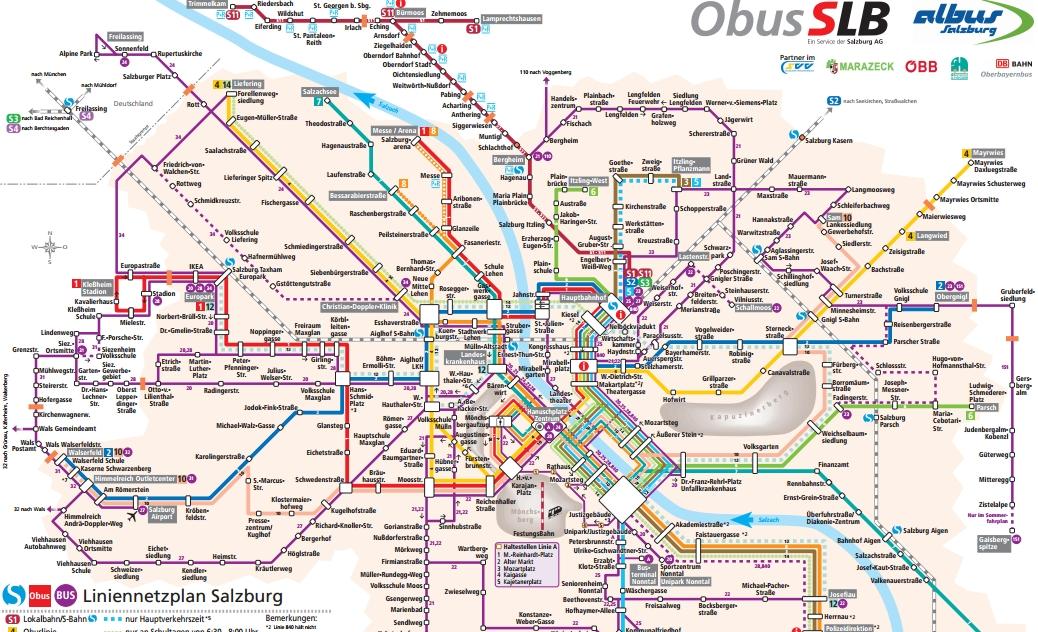 Зальцбург. Общестенный транспорт.Карта