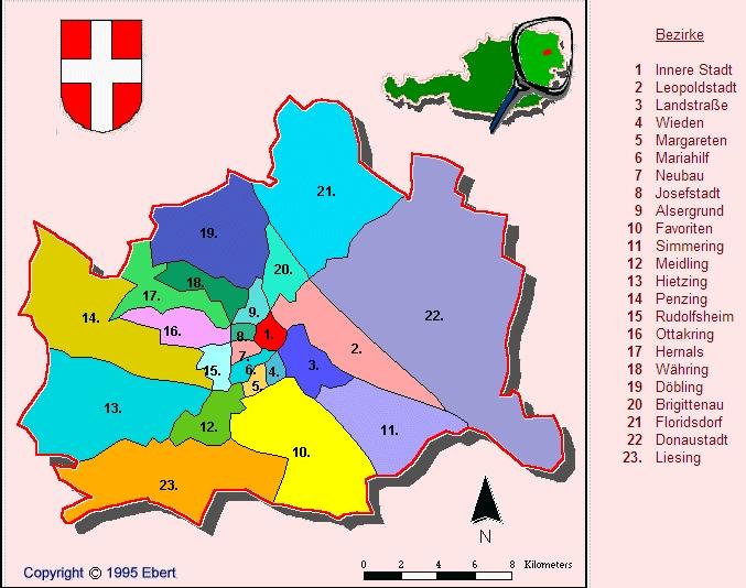 Районы Вены карта