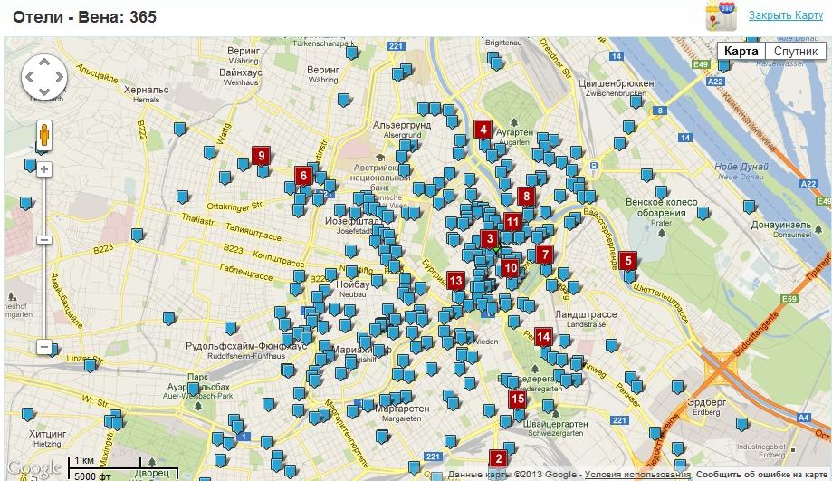 Вена. Карта отелей