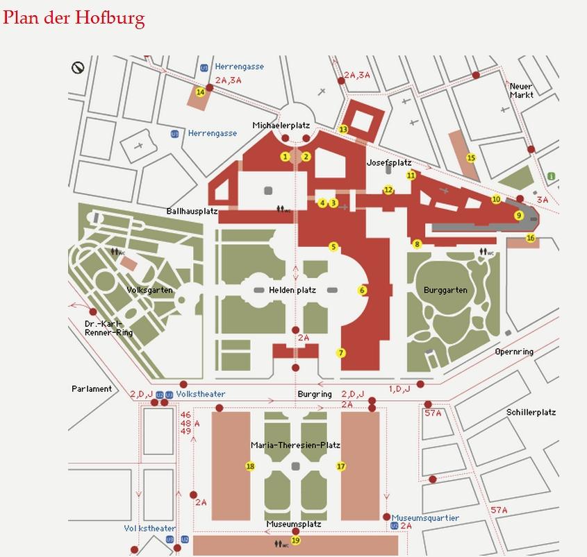 Вена. Хофбург (план дворцового комплекса)