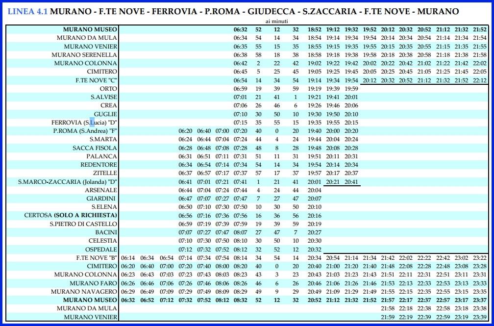 Венеция_расписание вапоретто