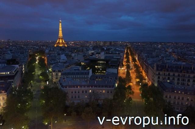 В Париж на День рожденья с Paris Pass. Ночной Париж со смотровой площадки Триумфальной арки