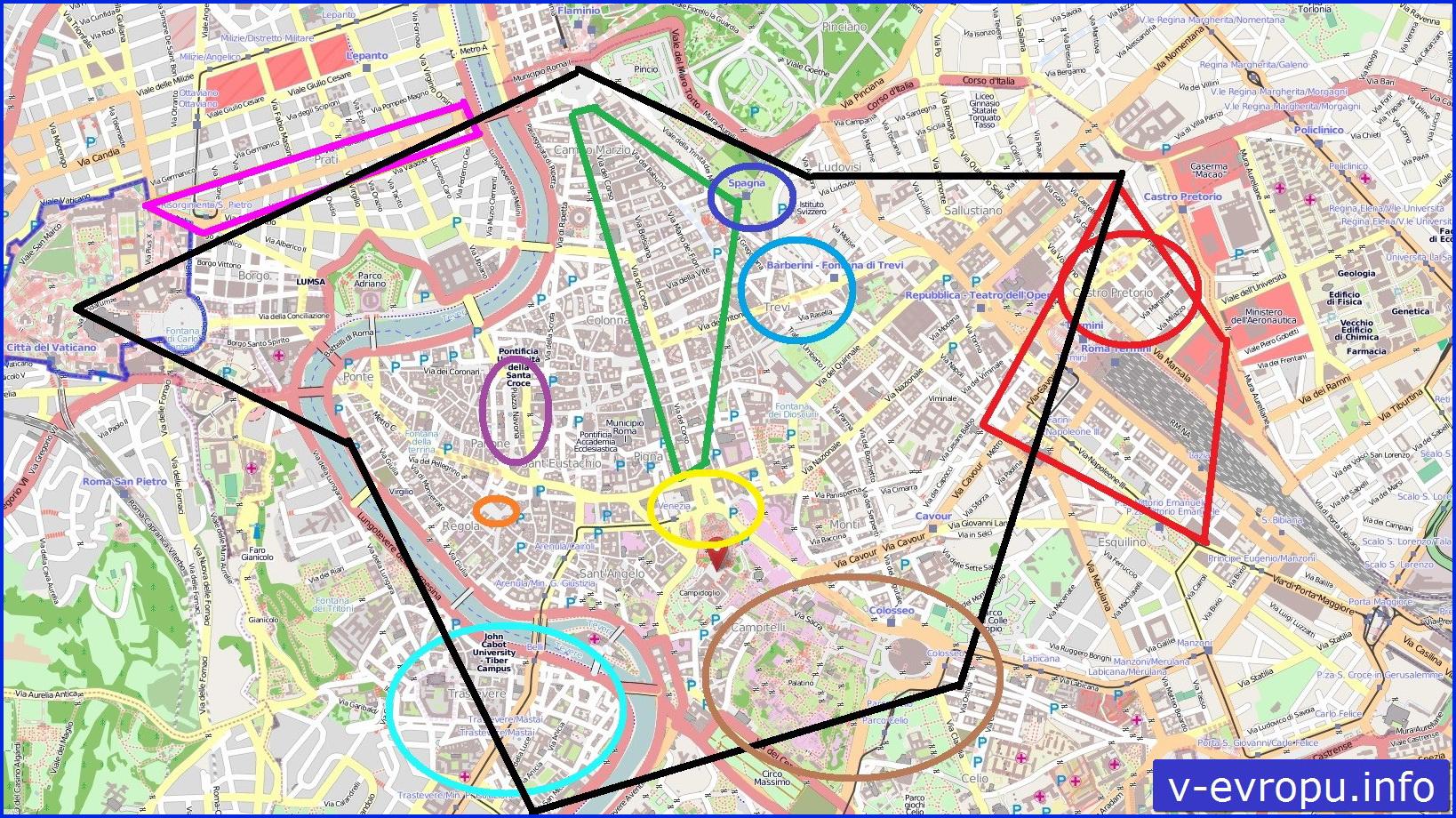Рим для туристов: карта самых популярных районов города