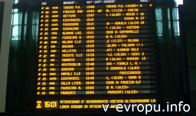 Рим. Жд вокзал Термини. Фото. Электронное табло отправления поездов
