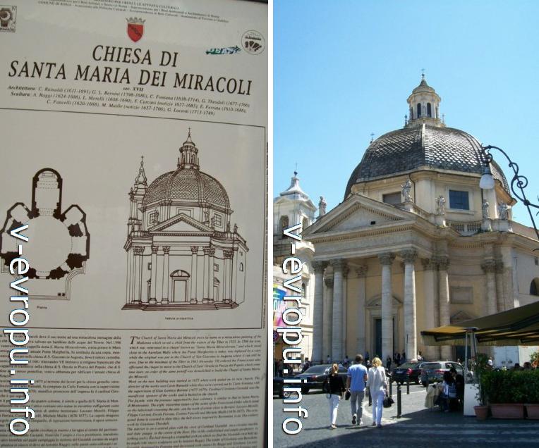 План-схема одной из церквей-близнецов в Риме: Санта Мария деи Мариколи