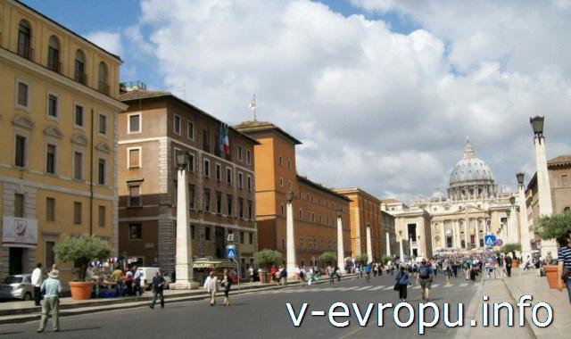 Рим для туристов: самые популярные районы города. Фото. Улица, ведущая к Собору Св Петра - виа Кончилиазионе