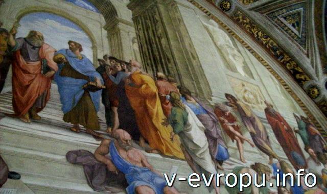 """Станцы Рафаэля в Ватикане. Фреска """"Афинская Школа"""" в зале Сеньятура"""