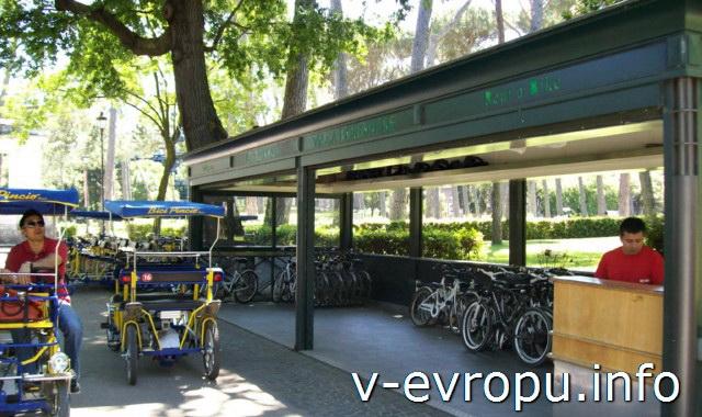 Пункт проката велосипедов в парке Боргезе в Риме