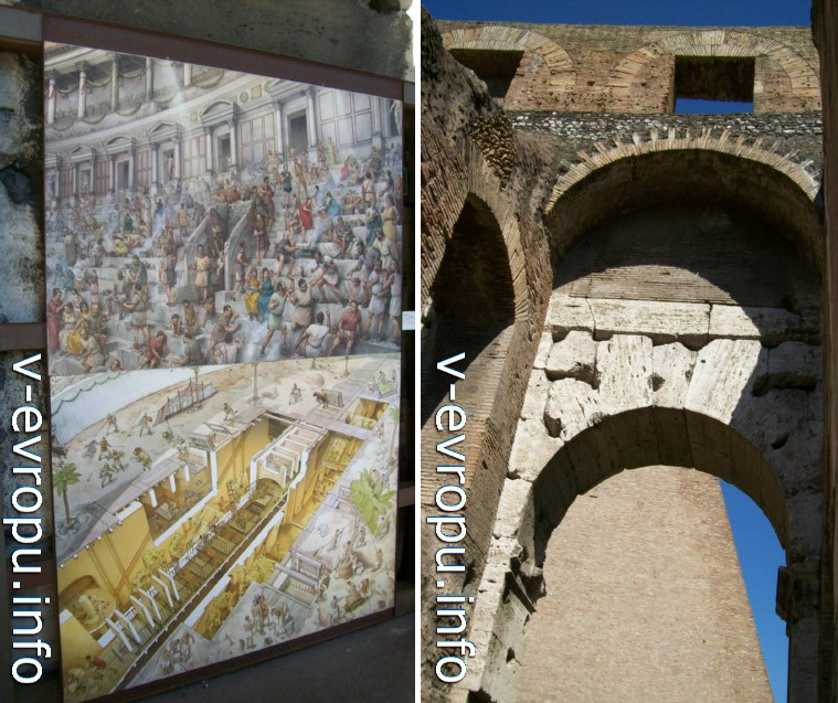 Рим.Колизей. Слева картинка в колизейском музее, демонстрирующая нравы тогдашней публики
