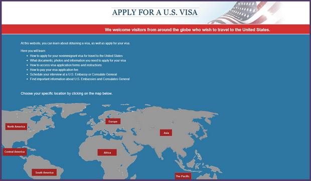 Сайт сервисного центра получения визы в США
