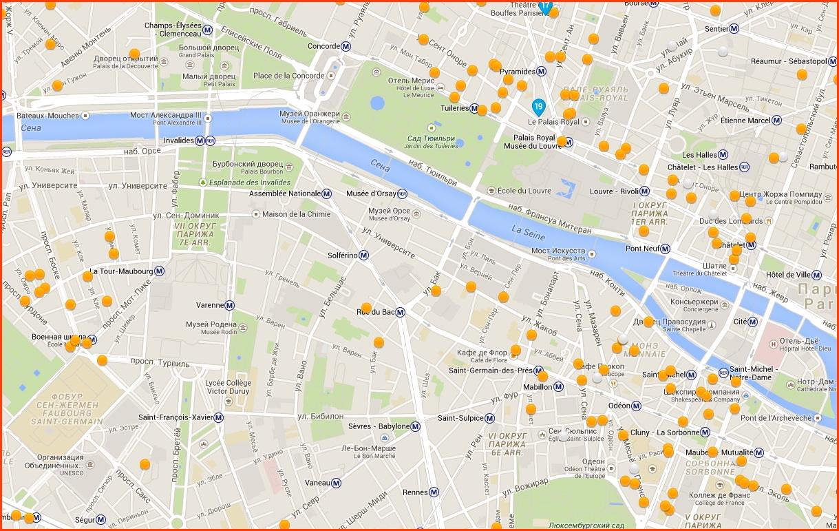 Карта отелей в Тюильри, Арабском квартале