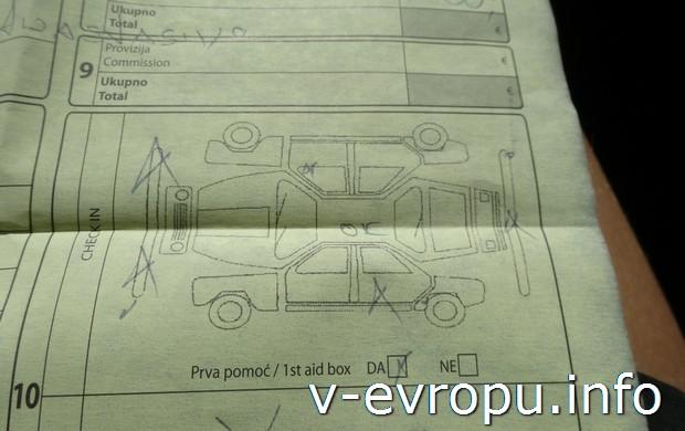 Отмеченные повреждения автомобиля в договоре аренды
