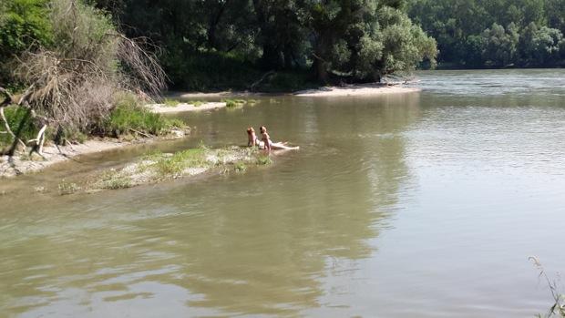 По дороге искупались в Дунае
