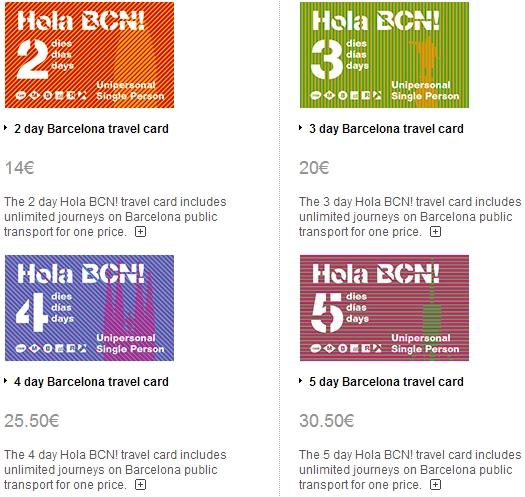 Стоимость дневных проездных билетов по Барселоне на май 2014
