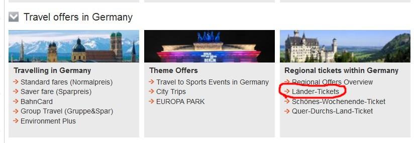 Чтобы купить Баварский Билет, выбирайте Länder-Tickets на сайте ДойчеБан