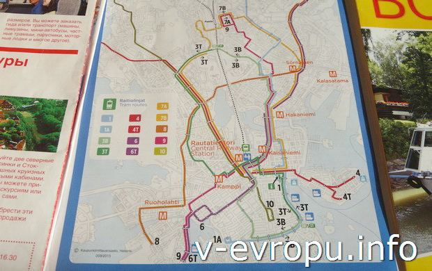 Схема маршрута трамвая №3  в Хельсинки