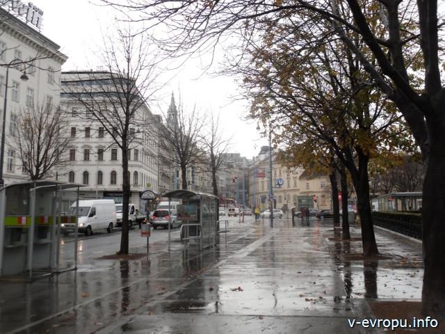 Улицы Вены в дождливую погоду