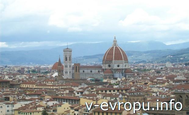 Путешествие во Флоренцию. Вид на город с обзорной площадки на пьяцца Микеланджело
