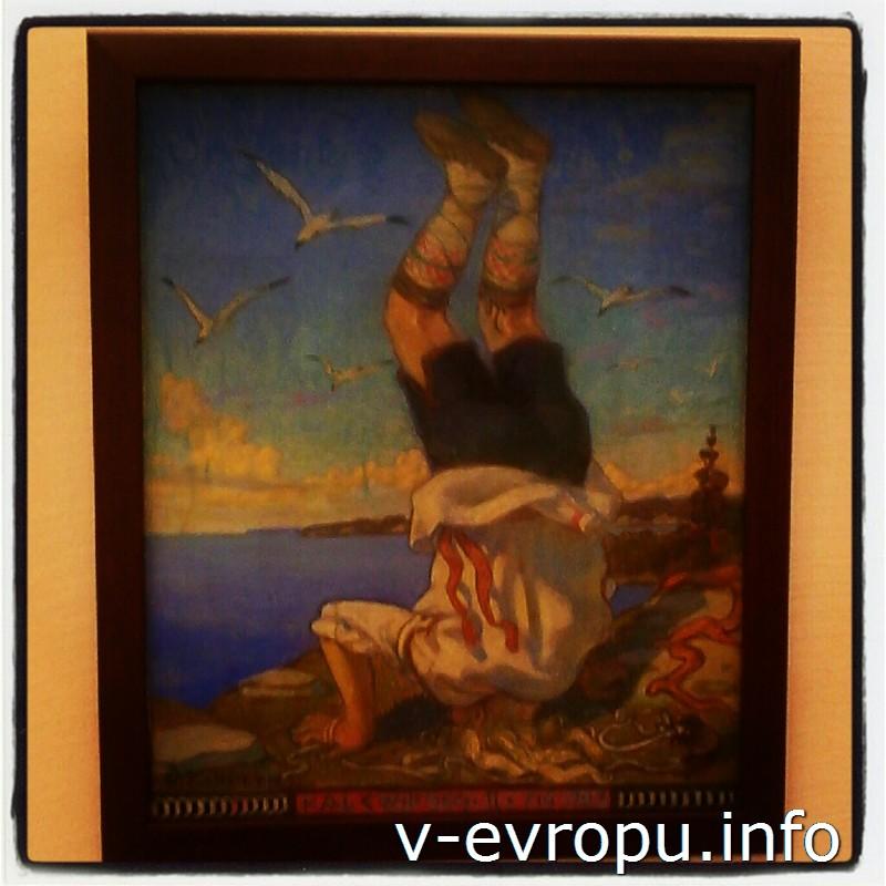 Картины с изображением Калева - героя национального эпоса - можно увидеть в залах эстонской живописи в музее KUMU