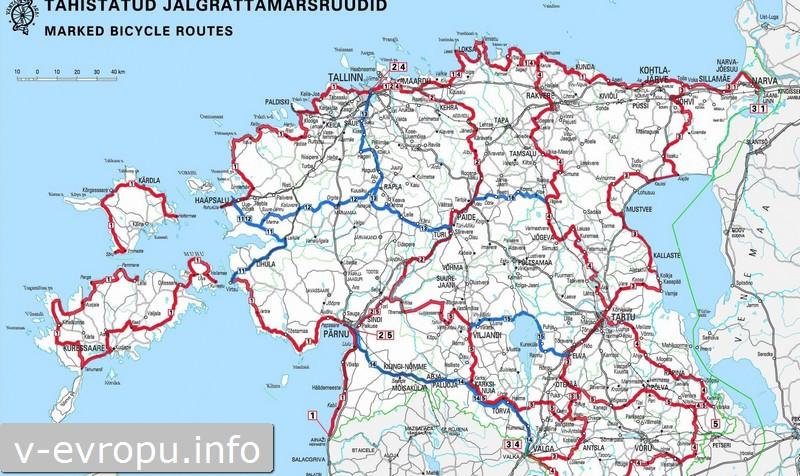 Скриншот с сайта Estovelo: карта велосипедных маршрутов Эстонии