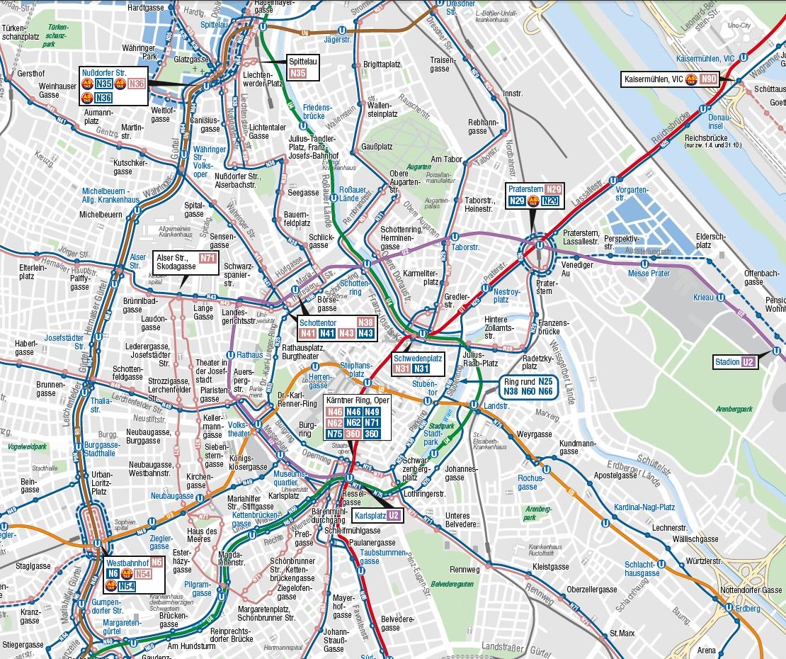 Вена маршруты ночных автобусов