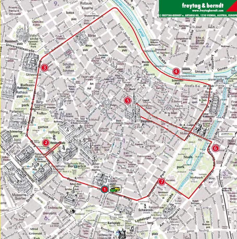 Красный маршрут экскурсионного автобуса в Вене Хоп Он Хоп Офф