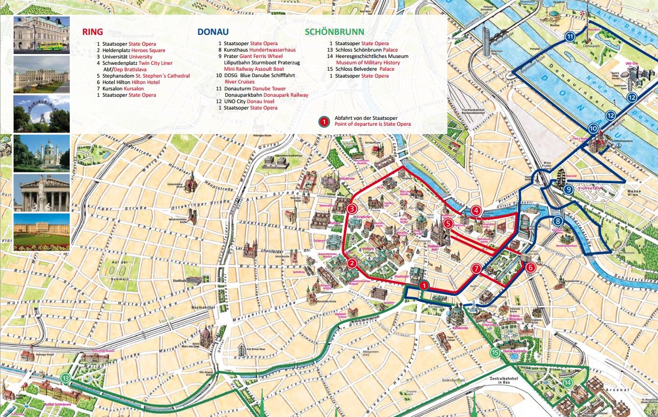 Маршруты экскурсионых автобусов Хоп он Хоп Офф (синий и зеленый маршруты)