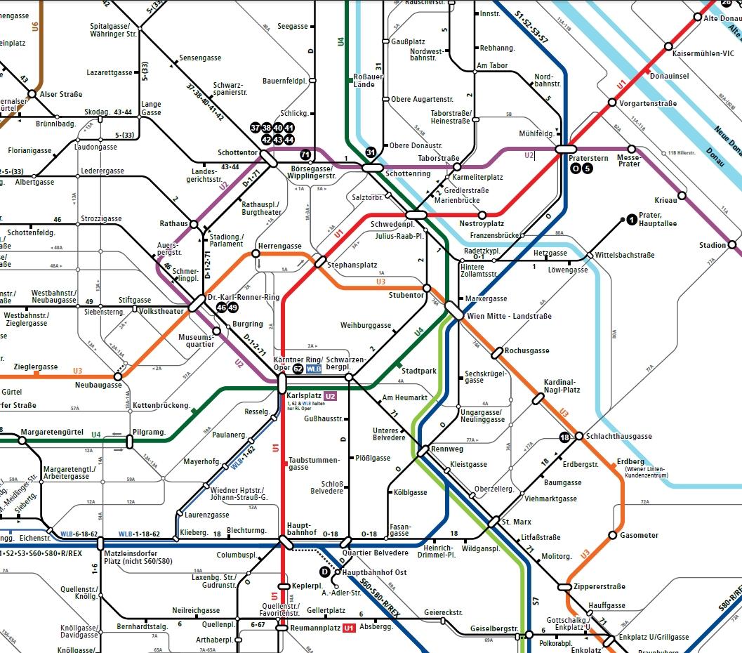 Вена. Схема маршрутов рейсовых автобусов