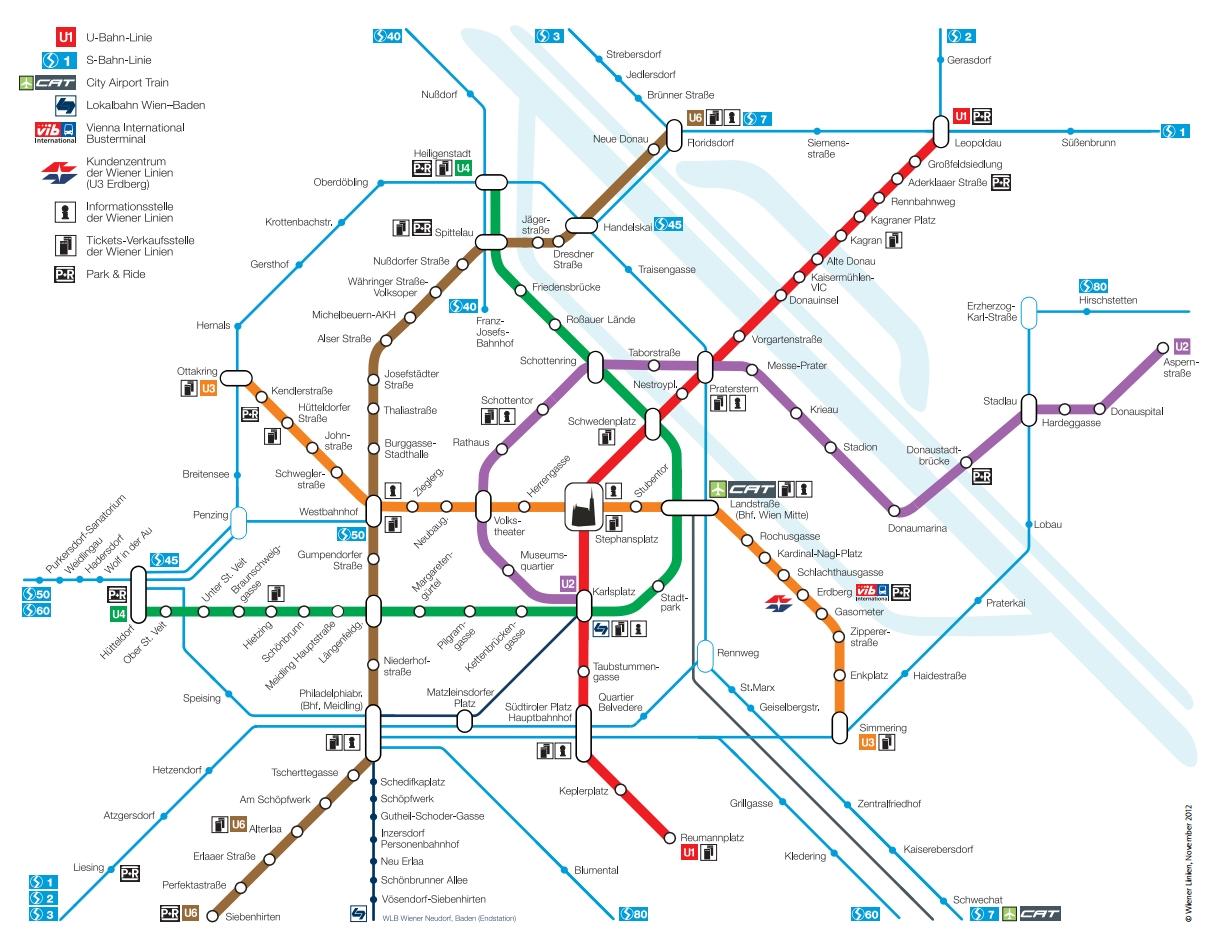 Карта метро г. Вена. Схема метрополитена: вена.