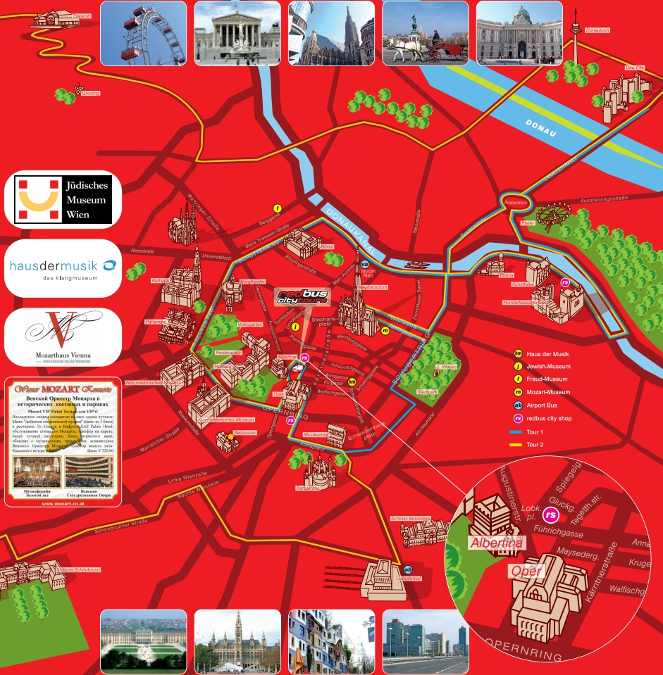 Маршрут красного автобуса по Вене карта