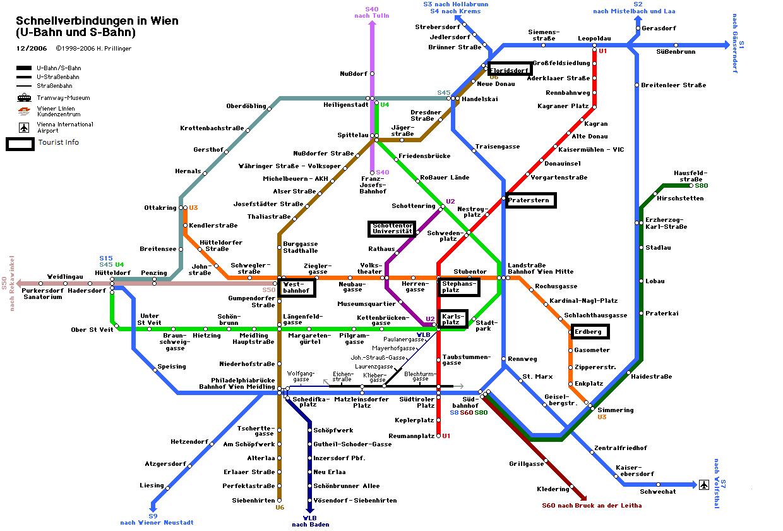 Карта туристических центров Вены