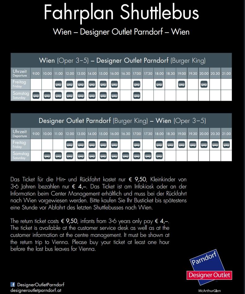 Расписание шатлового автобуса Вена-аутлет Парндорф