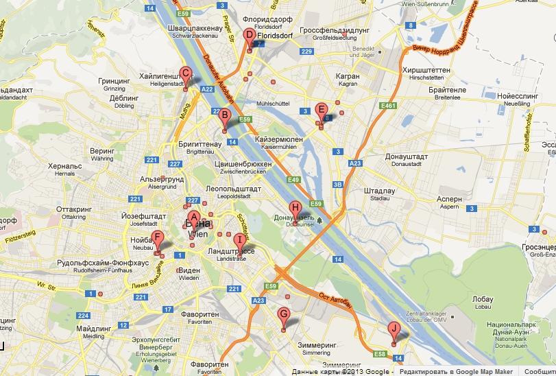Торговые центры Вены карта