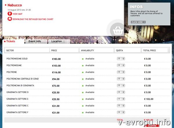 Выбор ценовой категории на билеты на Арену