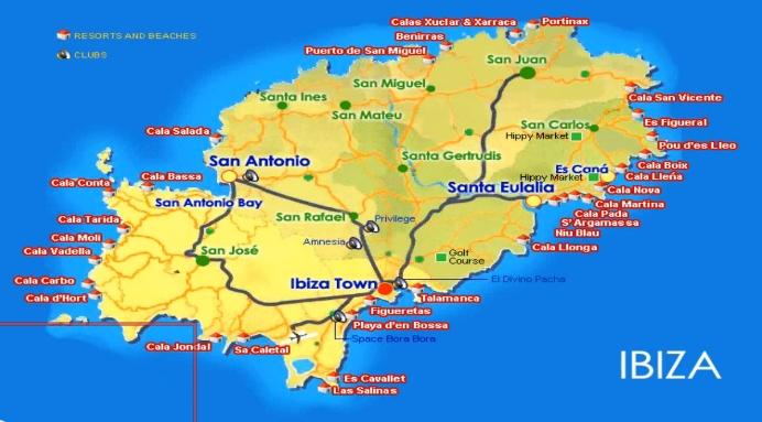 Ибица. Карта острова
