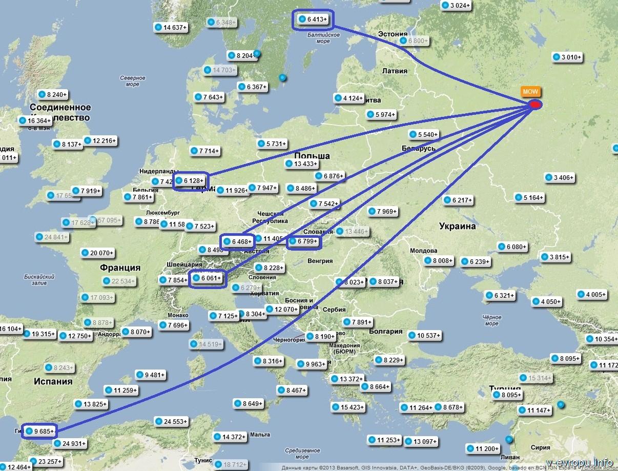 Карта цена Авиасейлса для мониторинга дешевых авиабилетов в Европу