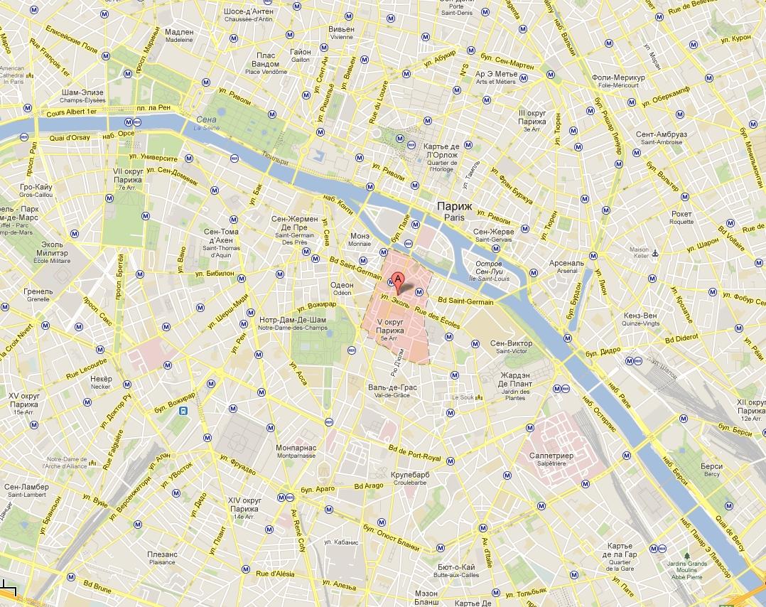 Латинский Квартал в Париже на карте