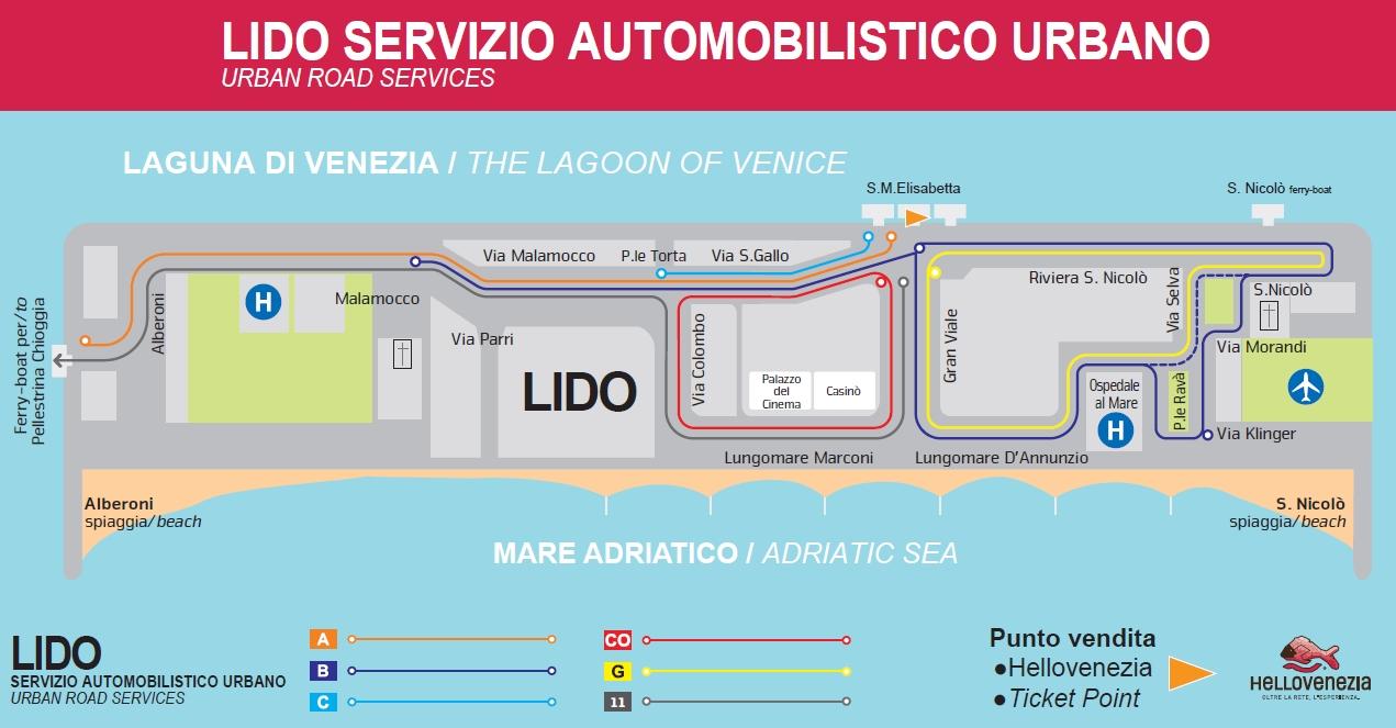 Венеция_автобусные маршруты острова Лидо_схема