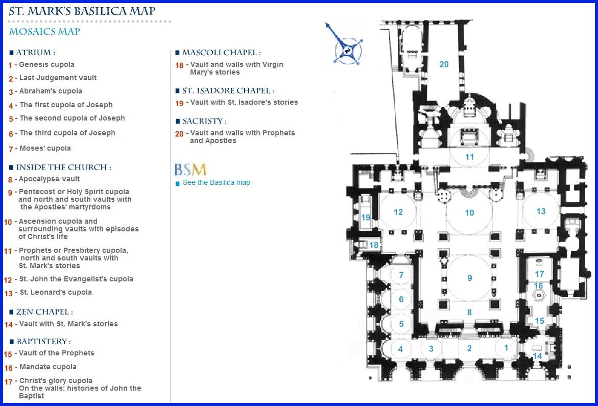 Собор Сан Марко в Венеции_схема расположения мозаик