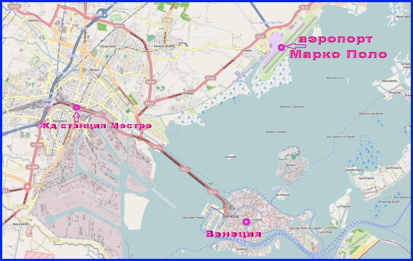 Аэропорт Венеции Марко Поло на карте