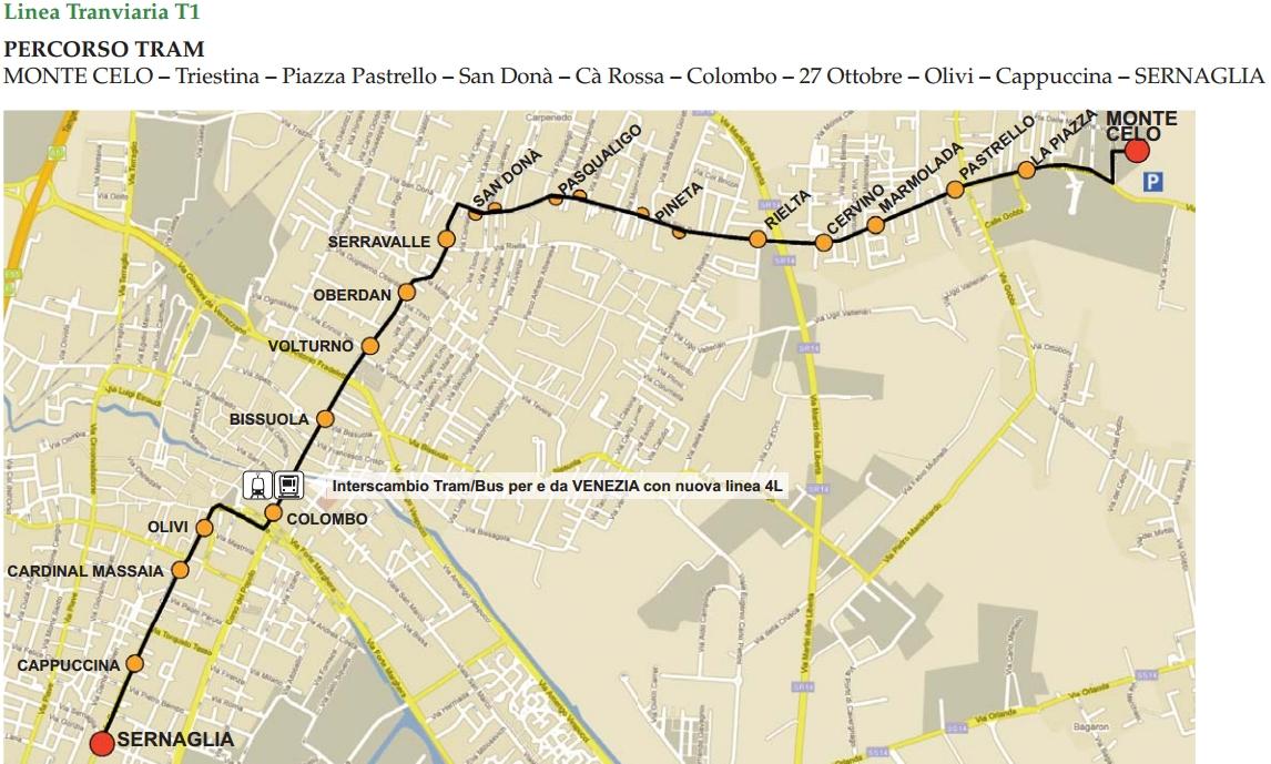 Венеция Местре_маршрут трамвая Т1