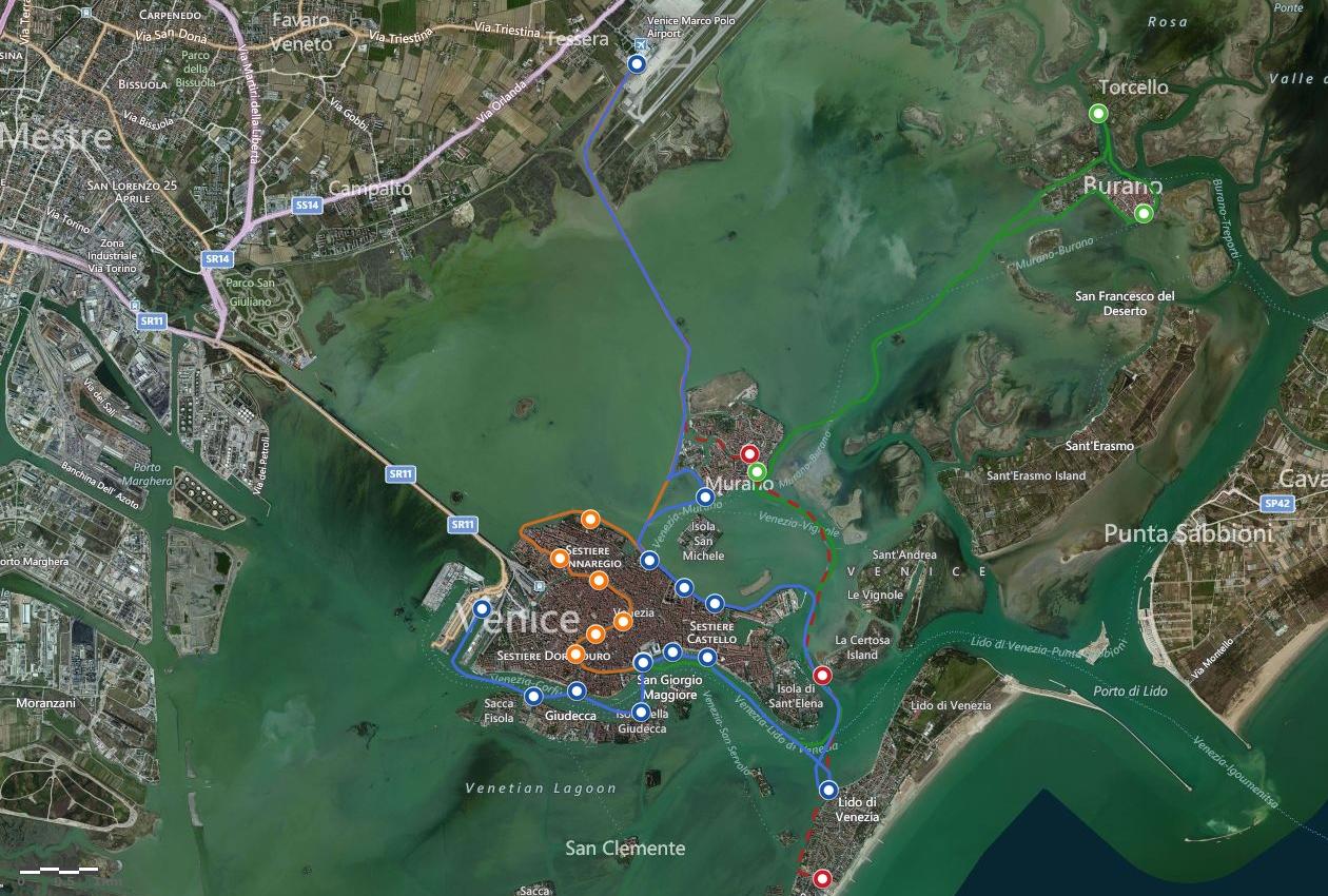 Венеция_маршруты Алилагуна на карте