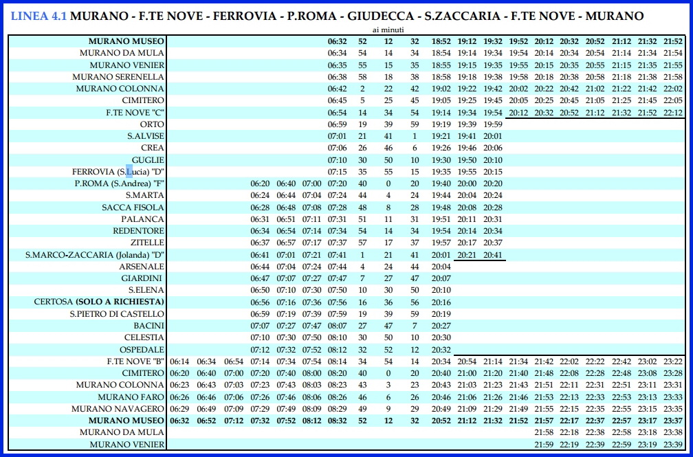 Венеция_расписание вапоретто линии 4.1_Мурано-вокзал Санта Лючия